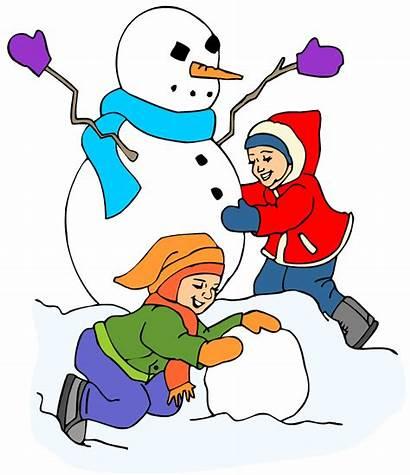 Snow Clip Playing Clipart Snowman Winter Children