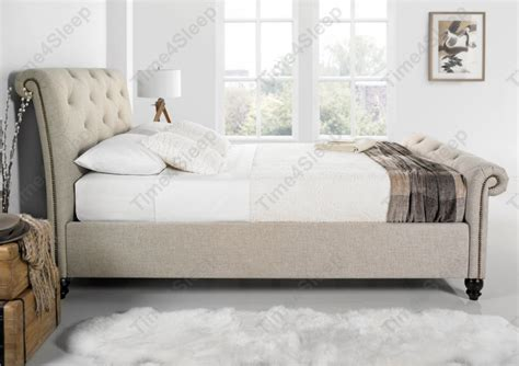Uk King Size Headboards by Kaydian Belford Oatmeal Upholstered Sleigh Bed