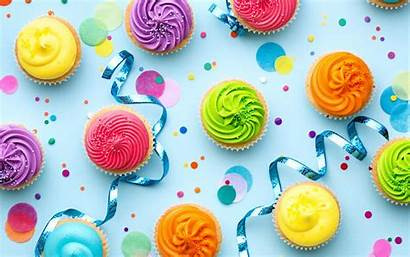 Cupcake Birthday Cake Happy Colorful Rainbow Cream