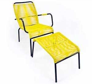 Fauteuil Fil Scoubidou : fauteuil de jardin fil jaune repose pieds cancun 89 ~ Teatrodelosmanantiales.com Idées de Décoration