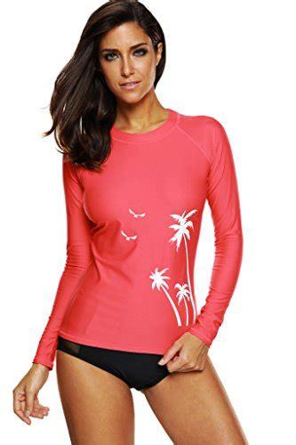women spf rash guard swimwear long sleeves swim shirt red