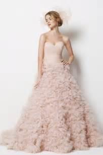 pink wedding dresses blush pink ruffly palm springs wedding dress by watters