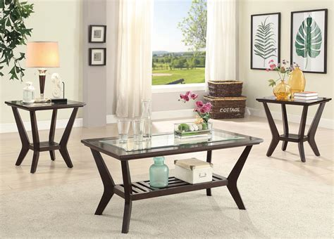 Shop a huge selection of discount living room furniture. 3 Pcs Wooden with Glass Coffee Table Set-UMFF3111