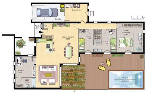 plan maison plain pied 4 chambres gratuit amusant plan maison en l images about plan maison