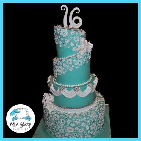 turquoise sweet  lace custom cake nj blue sheep bake shop