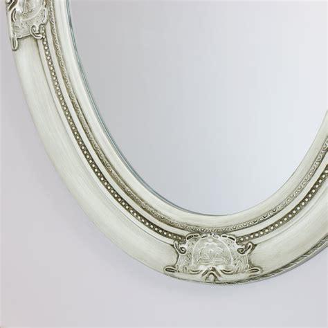 antique white ornate oval wall mirror cm  cm