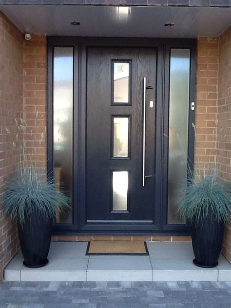 contemporary grey front door grey  opaque sidelight