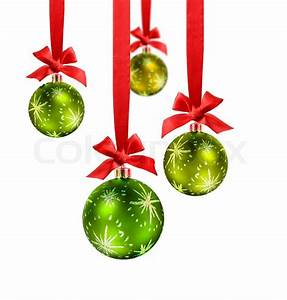 Boule De Noel Verte : decorated green christmas balls hanging in red silk ribbons with know and bow stock photo ~ Teatrodelosmanantiales.com Idées de Décoration