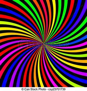 Abstract neon rainbow swirl on black background