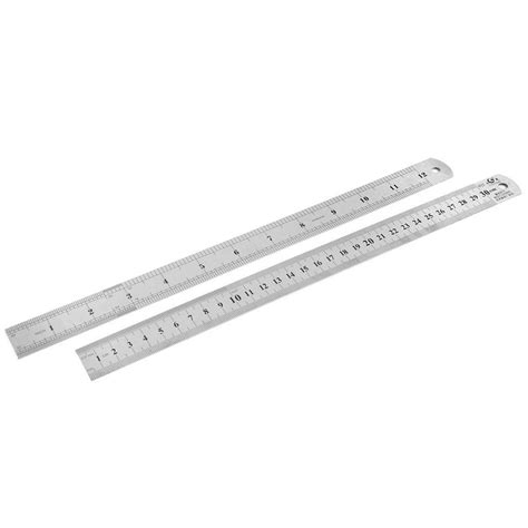 inches to cm 2pcs dual side stainless steel measuring ruler 48105