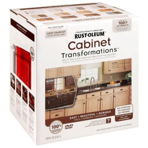 rustoleum cabinet refinishing home depot rust oleum transformations light color cabinet kit 9