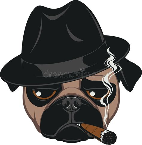 funny pug  cigar stock vector image  child graphic