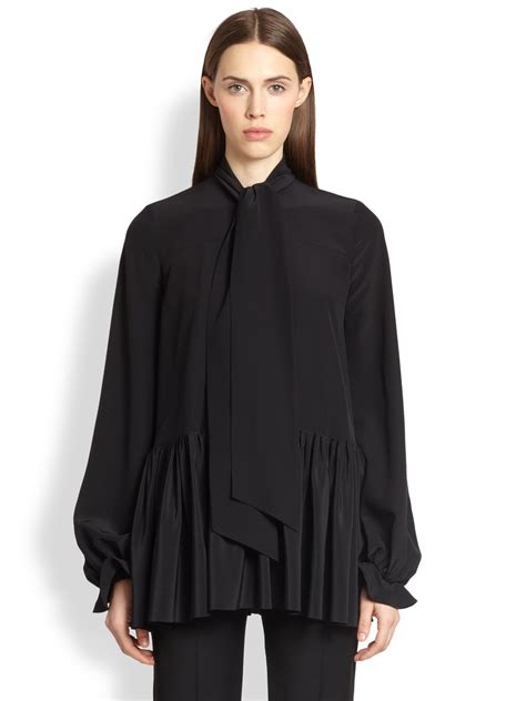 black tie neck blouse givenchy silk tie neck blouse in black lyst