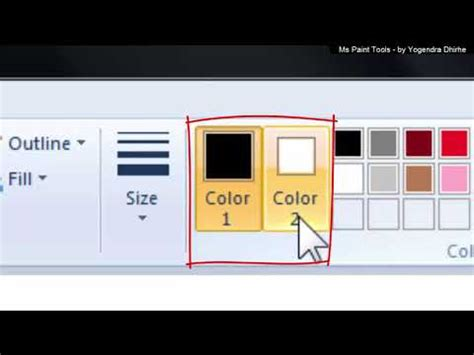 ms paint tools use pencil eraser color picker