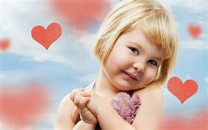 Cute Baby Girl With Hearts Background