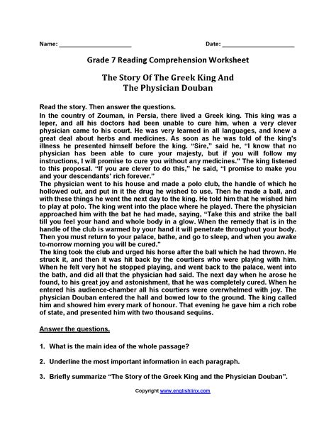 Please use any of the printable worksheets (you may duplicate them) in your classroom or at home. Story of the Greek King Seventh Grade Reading Worksheets ...