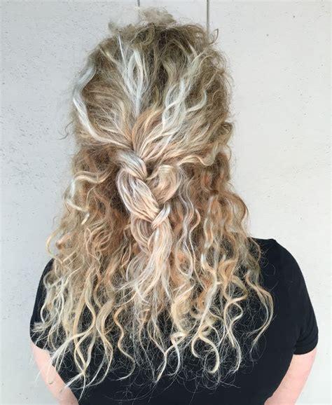 blonde hair balayage braids curly hair long hair