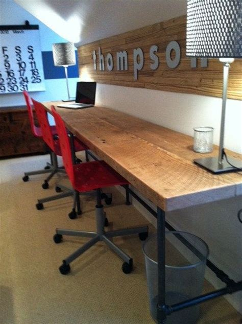 30 inch long desk reclaimed wood and pipe industry work station desk