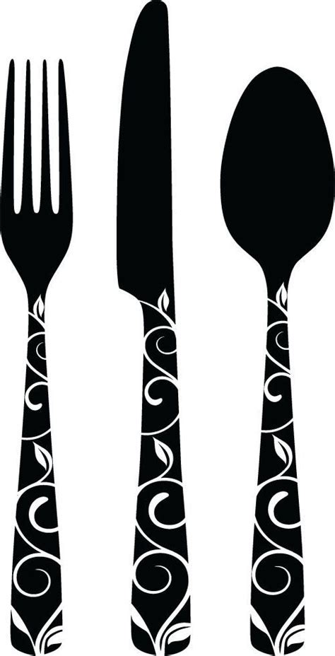 Cutlery clipart silhouette   Pencil and in color cutlery