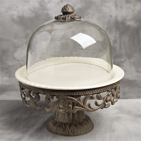 4484 cake stand with dome cake pedestal w dome and plate gg collection