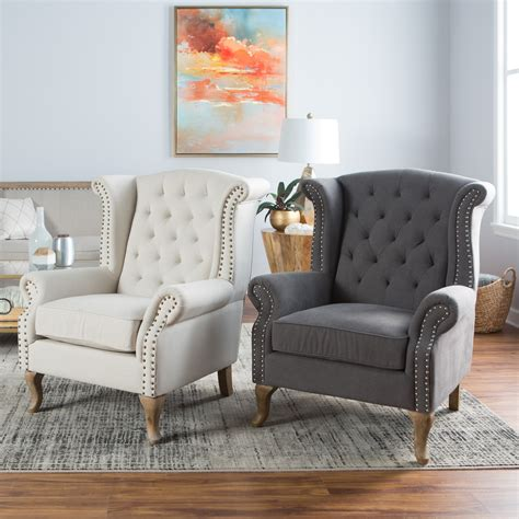 White Living Room Arm Chairs by Belham Living Tatum Tufted Arm Chair With Nailheads
