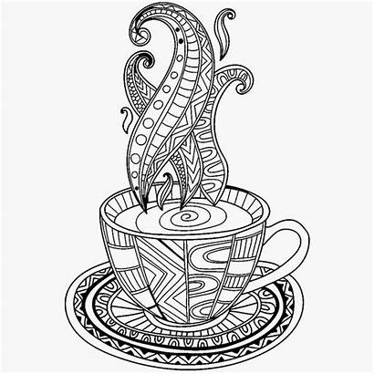 Coloring Coffee Cup Pages Tea Adult Vector