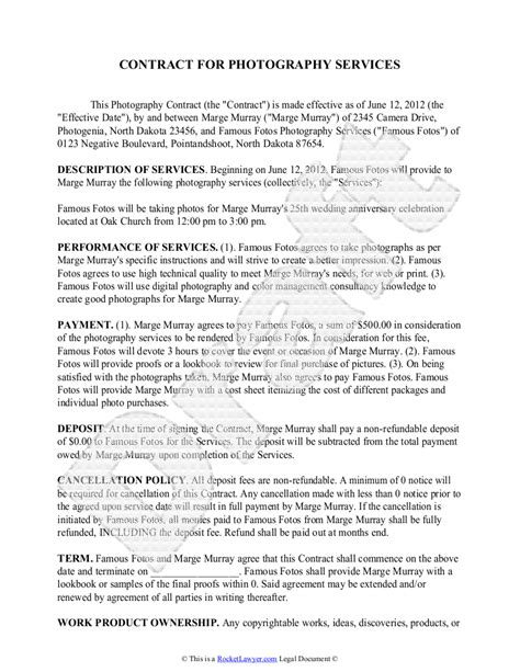 photography contract template  sample  wedding