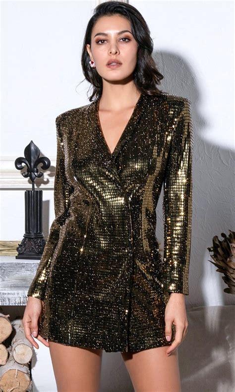 A Lister Black Gold Glitter Long Sleeve Shoulder Pad V