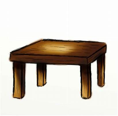 Table Clipart Cartoon Wooden Drawing Draw Brown