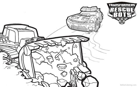 transformers rescue bots coloring pages boulder  chase