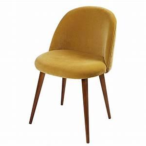 Chaise Velours Design : chaise vintage en velours jaune moutarde mauricette maisons du monde ~ Teatrodelosmanantiales.com Idées de Décoration