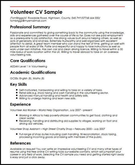Cv Writing Skills by Volunteer Cv Sle Myperfectcv