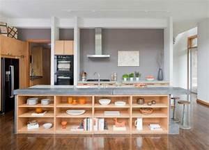 idee cuisine avec ilot perspective mouvement lumiere With idee cuisine avec ilot