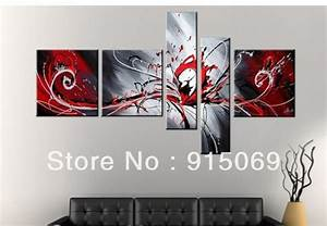 Wholesale black red white abstract wall art canvas oil