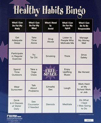 healthy habits bingo game  esteem shop