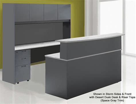 wrap around desk create an impressive reception area with a wrap around