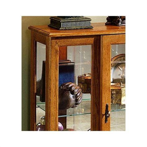 pulaski golden oak iii console curio display cabinet 6715