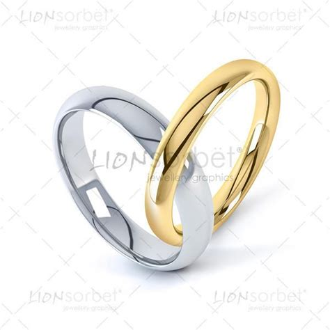 heart shaped linked wedding ring image in yellow and white