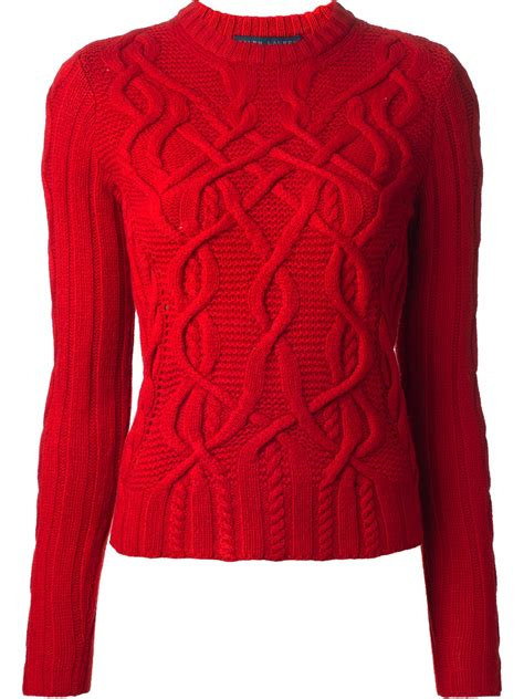 sweaters for ralph blue label cable knit sweater in lyst