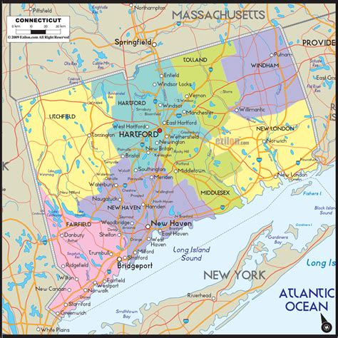 Connecticut County Map Area | County Map Regional City