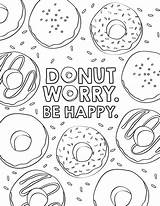 Donut Coloring Printable Sheets Birthday Pdf Favor Activity sketch template