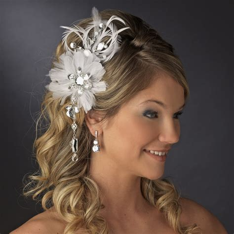 vintage bridal feather hair fascinator  dangling