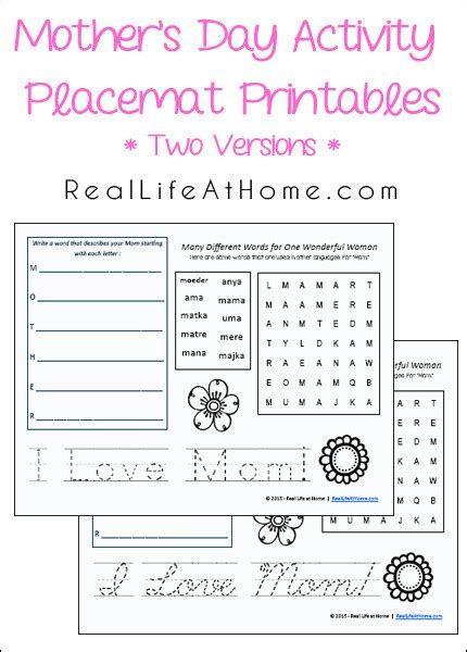 mothers day placemat activity printables