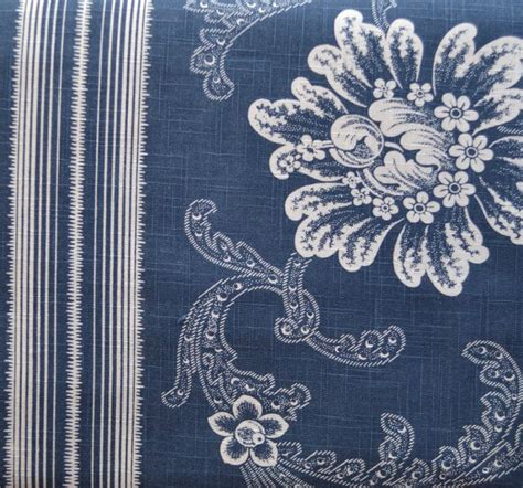 antique indigo blue white floral and striped shower curtain