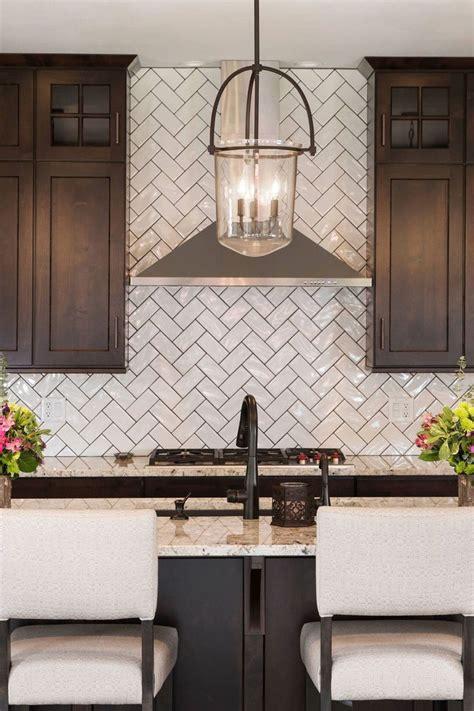 white herringbone backsplash tile  style