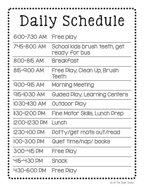 daycare schedule  works  template