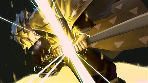 He is a traveling companion of tanjiro. Demon Slayer Zenitsu Agatsuma With Yellow Dress Having Lightning Sword HD Anime Wallpapers | HD ...