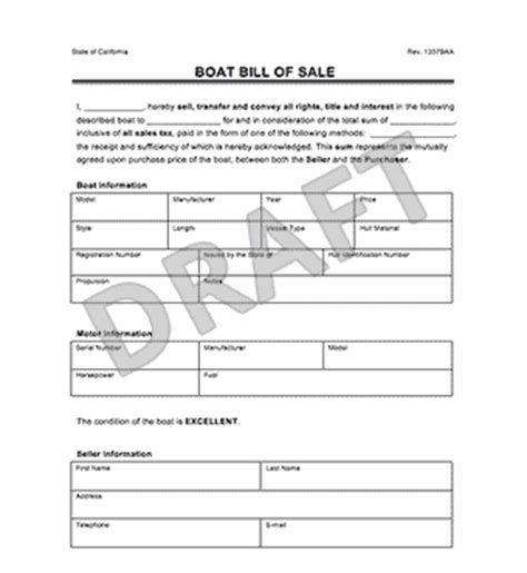 Michigan Boat Bill Of Sale Pdf by Create A Boat Or Watercraft Bill Of Sale Form