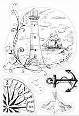 Coloring Lighthouse Nautical Clipart Burning Patterns Wood sketch template