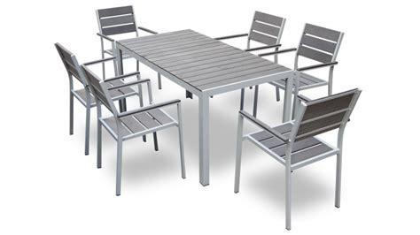 table chaise de jardin table et 6 chaises giany en aluminium pour jardin